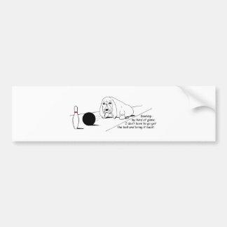 Humorous Bowling Dog Bumper Sticker