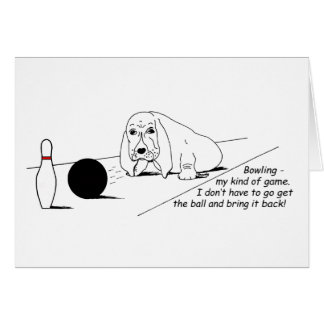 Humorous Bowling Dog Greeting Cards