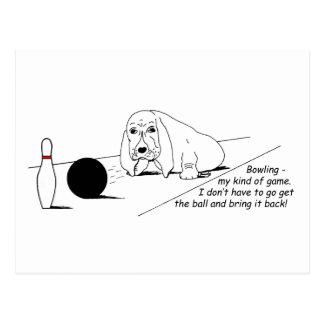 Humorous Bowling Dog Postcard