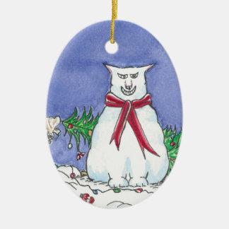 Humorous Cat Christmas Ornament