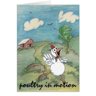 humorous chicken leaving coop card