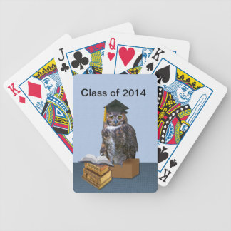 Humorous Class of 2014 Graduation Owl Bicycle Playing Cards