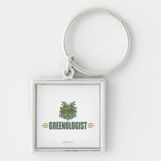 Humorous Environmentalist Silver-Colored Square Key Ring