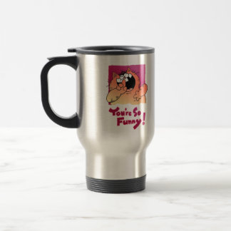 Humorous Fat Cartoon Cat | Humorous Fat Cat Stainless Steel Travel Mug