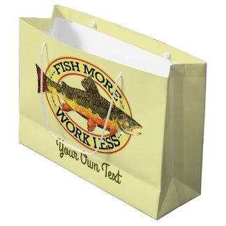 Humorous Fish More - Work Less Trout Fishing Large Gift Bag