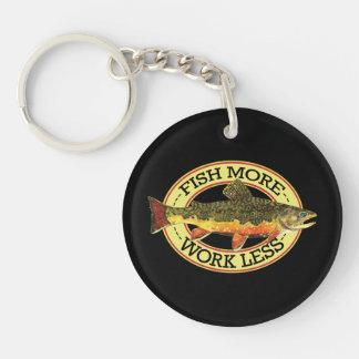 Humorous Fishing Single-Sided Round Acrylic Key Ring
