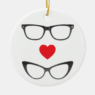 Humorous Geek Love - Heart & Eyeglasses Round Ceramic Decoration