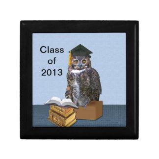 Humorous Graduation Owl Customizable Small Square Gift Box