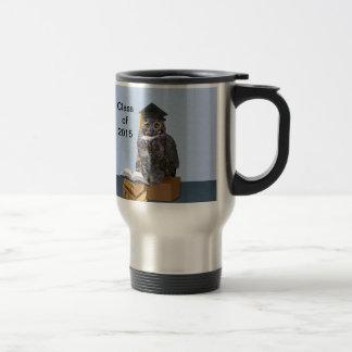 Humorous Graduation Owl Customizable Stainless Steel Travel Mug