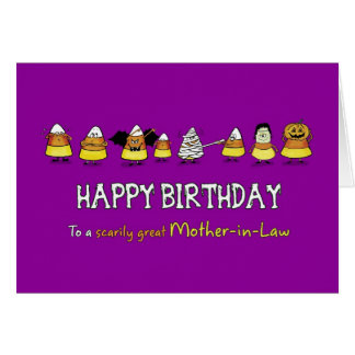 Humorous Halloween - Birthday for Mother-in-Law - Greeting Card
