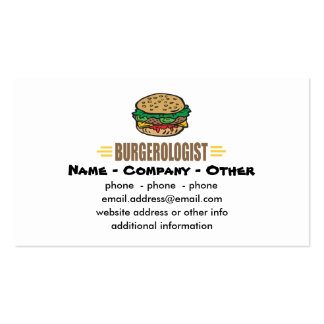 Humorous Hamburger Pack Of Standard Business Cards