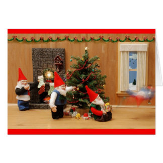Humorous Holiday Gnome Decorators Greeting Cards