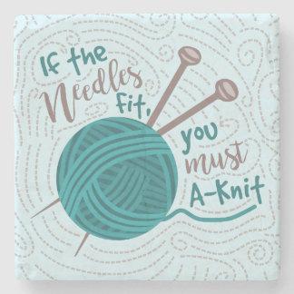Humorous Knitting Needles Yarn Funny Knitter Stone Coaster