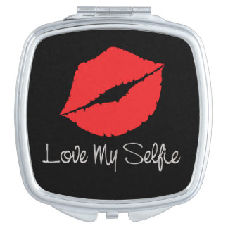 Humorous Love Myself Big Red Lips Self Love Diva Makeup Mirror