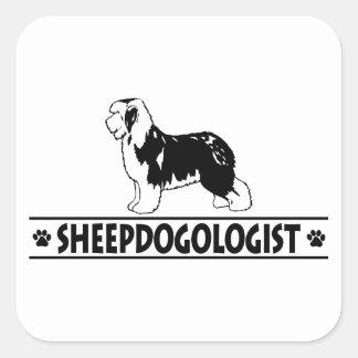 Humorous Old English Sheepdog Square Stickers