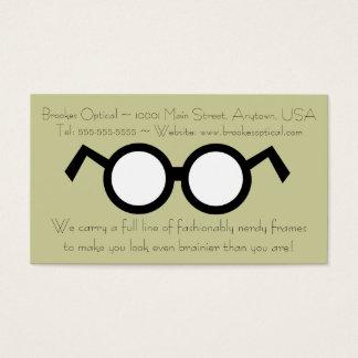 Humorous Optometrist Nerdy Round Black Glasses Business Card