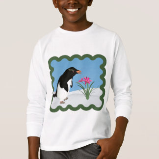 Humorous Penguin and Pink Flowers T-Shirt