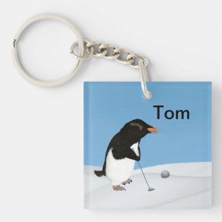 Humorous Penguin Playing Golf Customizable Double-Sided Square Acrylic Key Ring