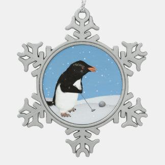 Humorous Penguin Playing Golf Snowflake Pewter Christmas Ornament