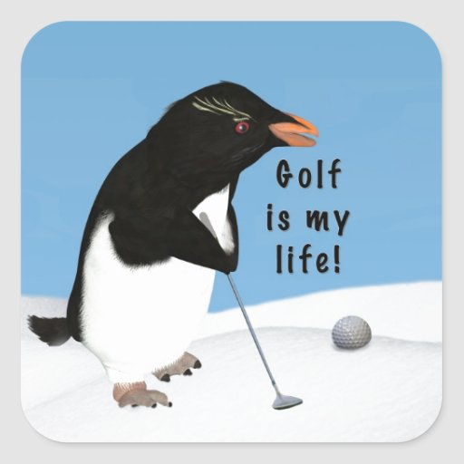 Humorous Penguin Playing Golf Sticker