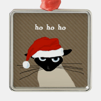 Humorous Siamese Santa Cat with Custom Text Christmas Ornament