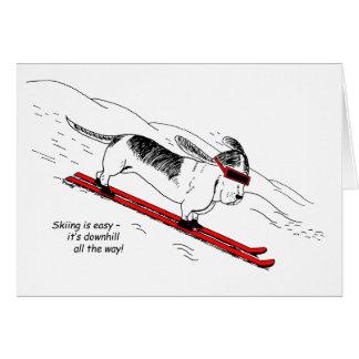 Humorous Skiing Dog Greeting Card