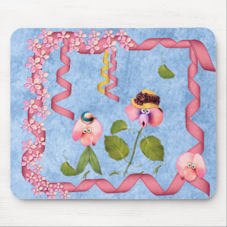 Humorous Sweet Peas Pink & Mauve Flower People Mouse Pad