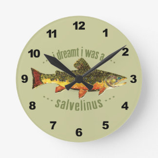 Humorous Trout Fishing Round Clock