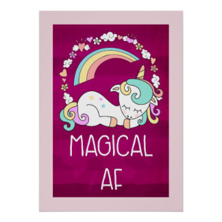 Humorous Unicorn Magical AF on Pinkish Red Patter Poster