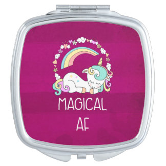 Humorous Unicorn Magical AF on Pinkish Red Pattern Mirror For Makeup