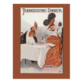 Humorous Vintage Thanksgiving Dinner Postcard Repr