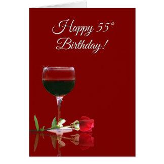 Humorous Wine Turning 55 Birthday Card