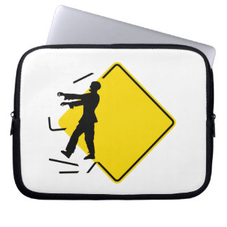 "Humorous, ""zombie crossing"" warning road sign computer sleeves"