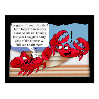 Humour Birthday Card with two crabs Postcard
