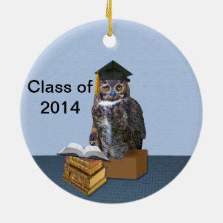 Humourous Class of 2014 Graduation Owl Round Ceramic Decoration