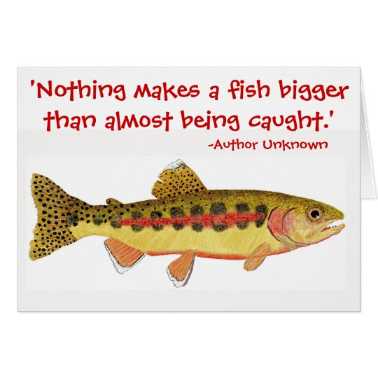 Humourous fishing quote with Trout Artwork Card