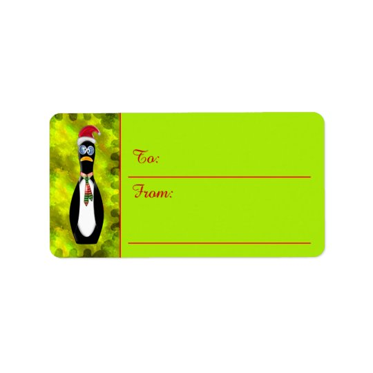 Humourous Frazzled Santa Penguin (To-From Tags) Label