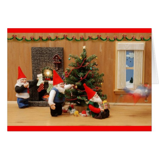 Humourous Holiday Gnome Decorators Greeting Cards