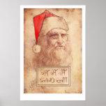 Humourous Leonardo da Vinci as Santa