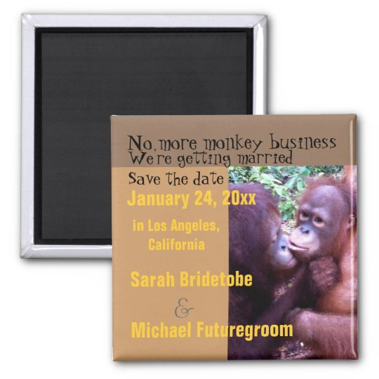 Humourous Monkey Business Save the Date Magnet