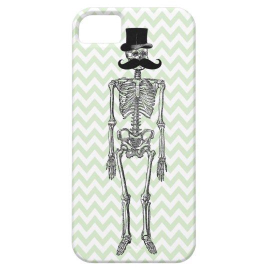 Humourous Moustache on Skeleton LIME iPhone Case