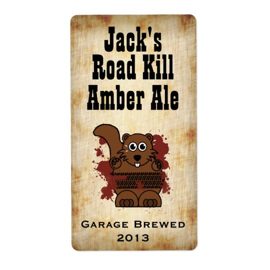 Humourous Road Kill Home Brew Beer Label Shipping