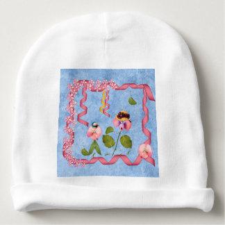 Humourous Sweet Peas Pink & Mauve Flower People Baby Beanie
