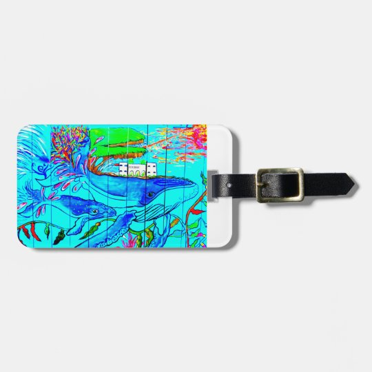 humpback whale and baby luggage tag