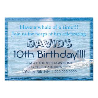 "Humpback Whale Birthday Invitations 5"" X 7"" Invitation Card"