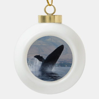 humpback whale breach ceramic ball christmas ornament