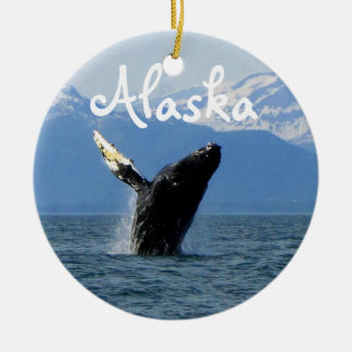 Humpback Whale Breaching; Alaska Christmas Ornament