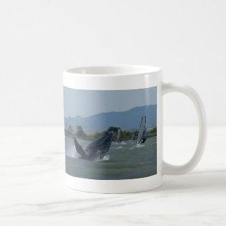 Humpback Whale Breaching by Windsurfers Coffee Mug