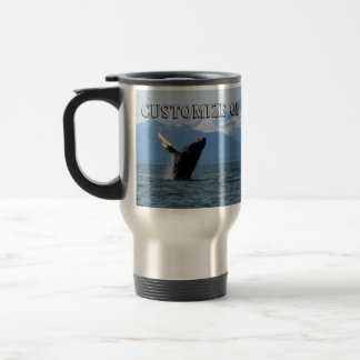Humpback Whale Breaching; Customizable Stainless Steel Travel Mug