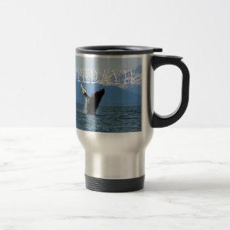 Humpback Whale Breaching; Happy Birthday Stainless Steel Travel Mug